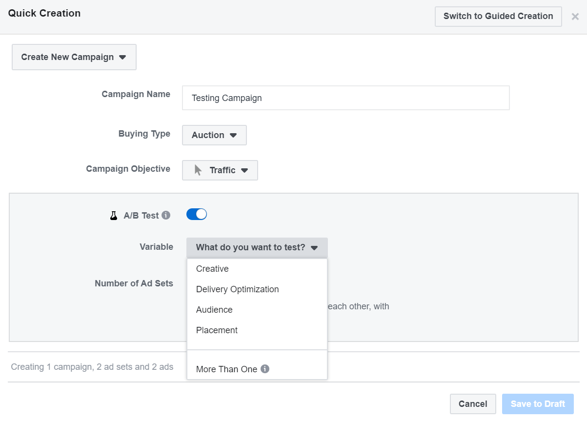 Screenshot of A/B test configuration in Facebook Ad Manager