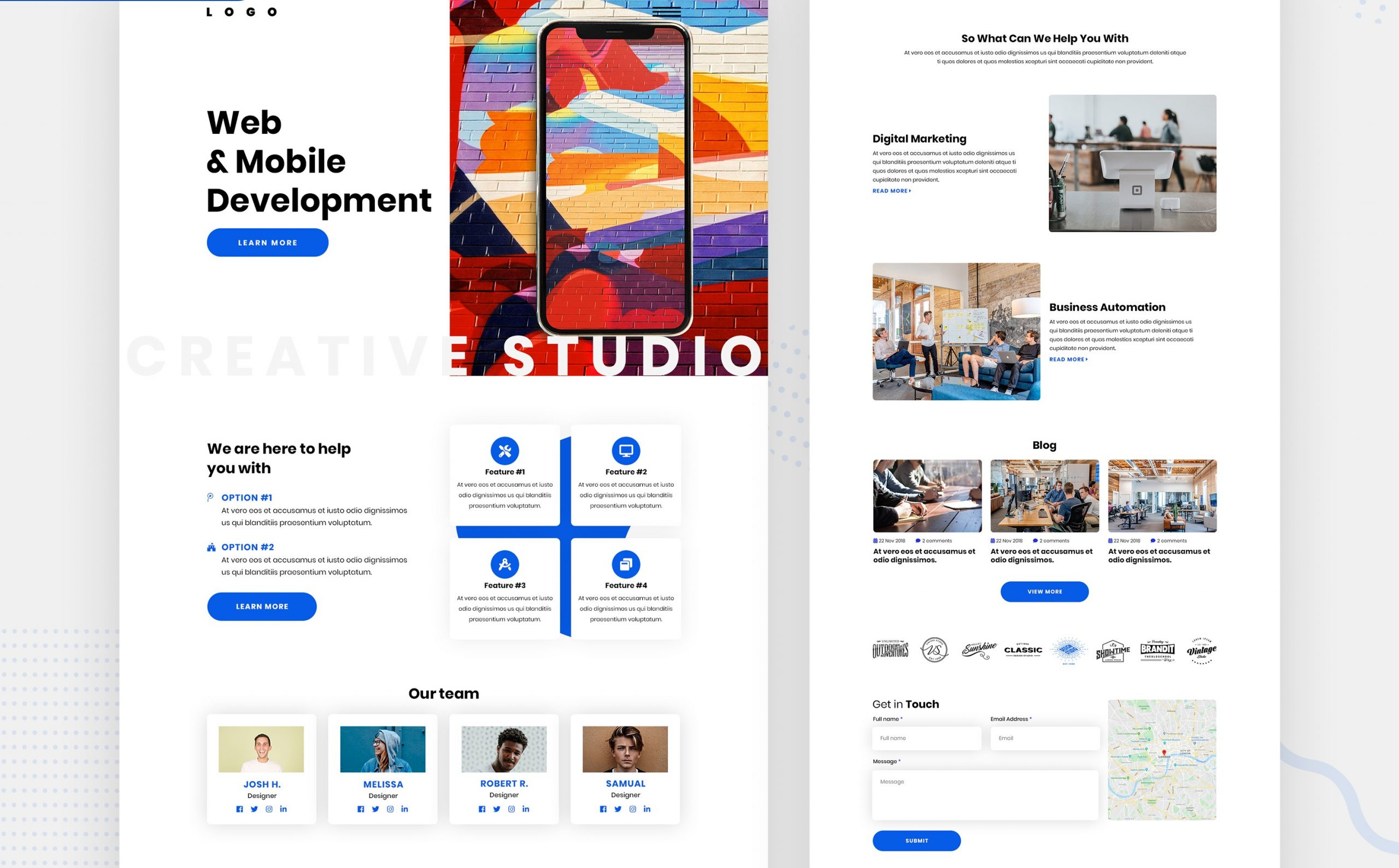 Thumbnail with the screenshot of two modern landing page design